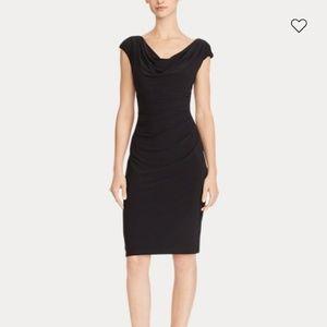 Ralph Lauren black dress Ruched sleeveless 4 lbd
